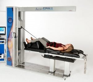 IDD Therapy® treatment session image - Patient laying on Accu-SPINA